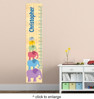 Personalized Stacked Boy Elephant Growth Chart - click to enlarge