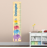 Personalized Stacked Boy Elephant Growth Chart