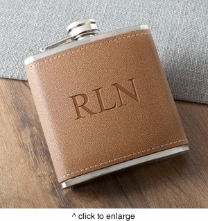 Personalized Tan Hide-Stitch Flask - click to enlarge