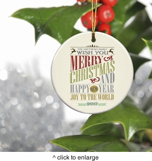Personalized Vintage Christmas Ornament - Christmas Words - click to enlarge