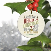 Personalized Vintage Christmas Ornament - Christmas Words