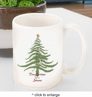 Personalized Vintage Holiday Coffee Mug - Christmas Tree - click to enlarge