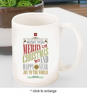 Personalized Vintage Holiday Coffee Mug - click to enlarge