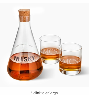 Personalized Whiskey Decanter in Wood Crate with set of 2 Lowball Glasses - click to enlarge
