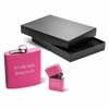 Pink 6oz Matte Flask & Lighter Gift Set - click to enlarge