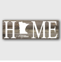 Plank Wood Home State Canvas