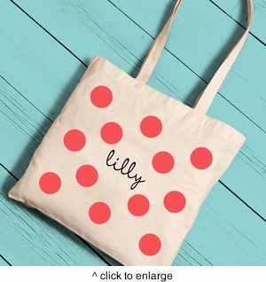 Polka Dots Girl Canvas Tote - click to enlarge