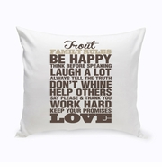 Rustic Family Rules Throw Pillow