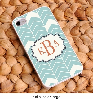 """Sea Mist"" Personalized Chevron iPhone Case - click to enlarge"