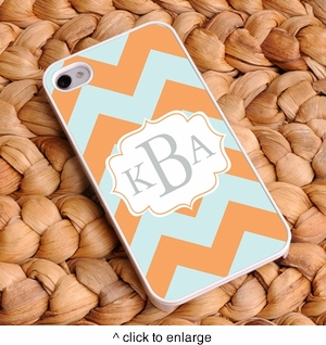 """""""Sherbet Ice"""" Personalized Chevron iPhone Case - click to enlarge"""