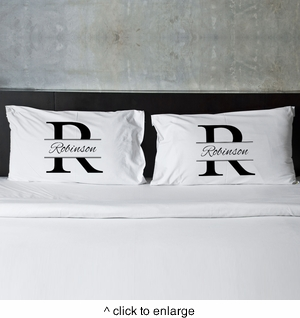 Stamped Design Couple's Pillow Case Set - click to enlarge