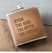 The Man. The Myth. The Legend. Tan Hide Stitched Flask