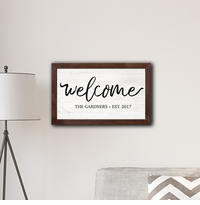 "Welcome Framed Modern Farmhouse 14 x 24"" Canvas Sign"