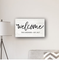 "Welcome Modern Farmhouse 14 x 24"" Canvas Sign"