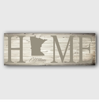 White Wash Home State Canvas
