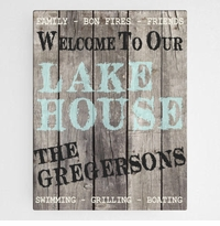 Wood Lake House Canvas Sign