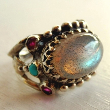 A genuine Labradorite Ring bezel set on a silver band