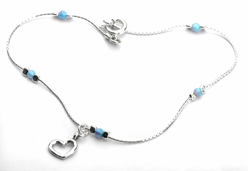 Anklet Bracelet sterling silver with lab opals and heart charm