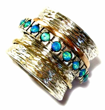 Blue opals meditation ring silver & gold