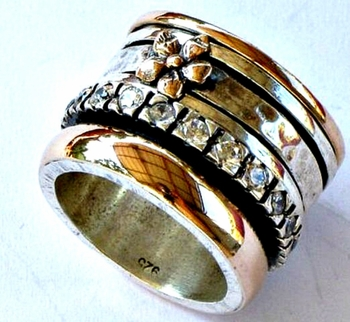 Cubic Zirconia Ring Spinning ring sterling silver and gold zircons rings