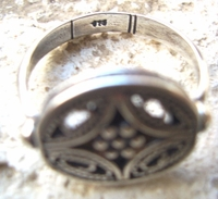 Double sided turning filigree ring Israeli  Eilat stone