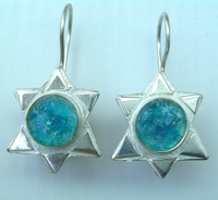 Earrings roman glass made in Israel earings star of David