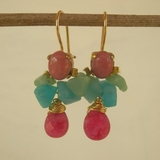 Fashion Gemstones Earrings Quartz Rhodonite Adorable Handcrafted  Earrings