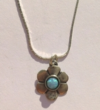 Flower blue opal necklace
