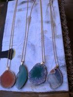 Amazing agate sliced necklace turquoise green colours