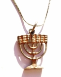 Menorah necklace silver Israeli jewelry
