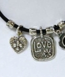 Silver on leather necklace Love heart Valentine