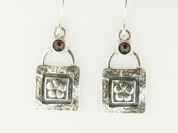 Sterling silver  earrings with flower