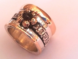 Love Message Poesie ring sterling silver and 9 ct gold Israeli jewelry