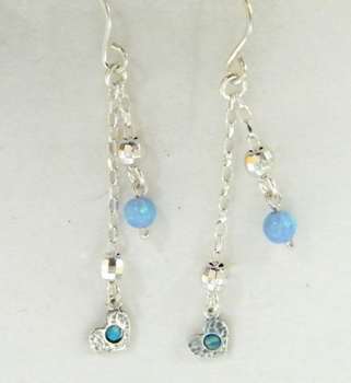 Israeli jewelry dangle blue opal earrings