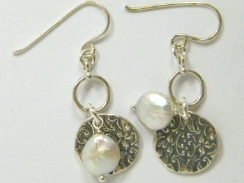 Israeli jewelry dangle silver earrings pearl