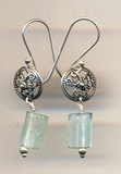 Israeli jewelry roman glass earrings on silver