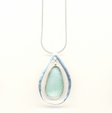 Israeli roman glass sterling silver pendant necklace