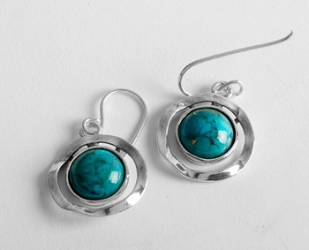 Israeli jewelry sterling silver turquoise earrings