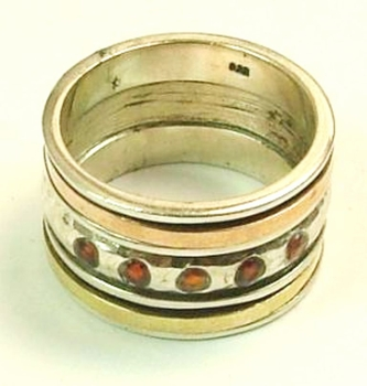 Israeli Silver and Gold Ring set with garnets