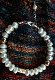 Israeli silver cultured pearls bracelet