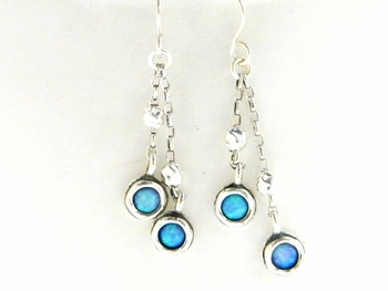 Israeli Silver earrings | opal dangle earrings