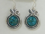Israeli silver earrings set with labradorite or turquoise