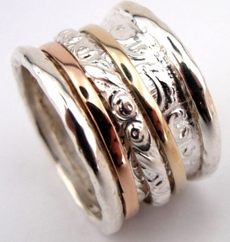 Spinner ring silver gold bands on arabesque base