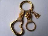 Keychain leather women elegant accessory gold plated charms