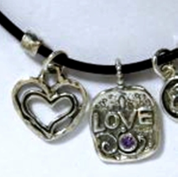 Israeli silver necklace Love Heart set Amethyst