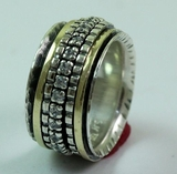 Israeli Jewelry spinner ring silver and gold ring  Unisex