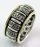 Israeli jewelry spinner ring band cz zircons