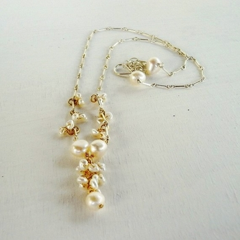 Silver 14K Gold Filled Pearls Necklace