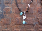 Necklace Silver Charms on Black leather  turquoise hamsa