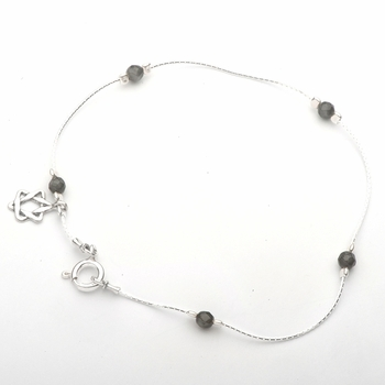 Anklet Bracelet sterling silver  star of David  charm